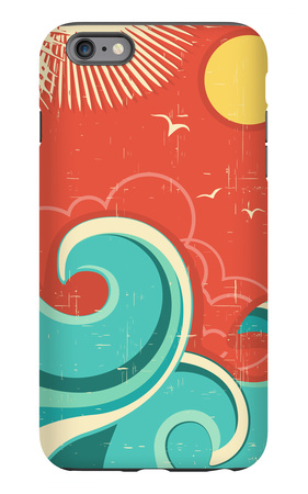 Vintage Tropical Background With Sea Waves And Sun iPhone 6 Plus Case by  GeraKTV