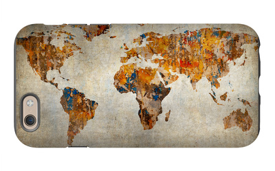 Grunge Map Of The World iPhone 6 Case by  javarman