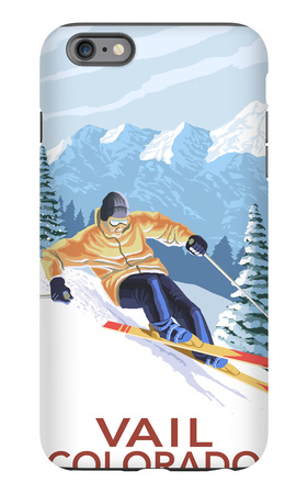 Vail, CO - Vail Downhill Skier iPhone 6s Plus Case by  Lantern Press