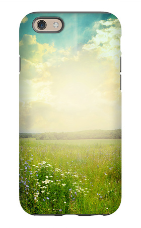 Green Meadow Under Blue Sky With Clouds iPhone 6 Case by  Volokhatiuk