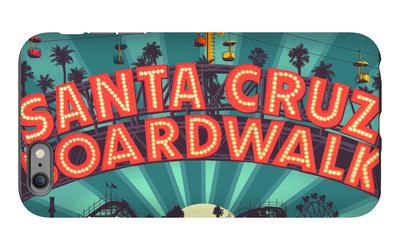 Santa Cruz, California - Beach Boardwalk Sign at Night iPhone 6s Plus Case by  Lantern Press