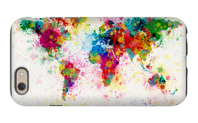 World Map Paint Splashes iPhone 6s Case by Michael Tompsett