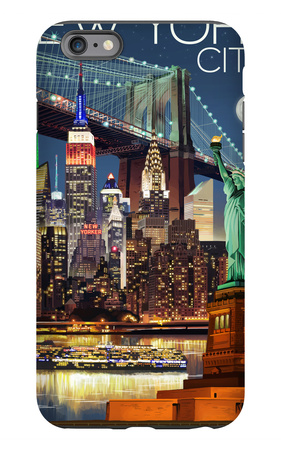 New York City, NY - Skyline at Night iPhone 6s Plus Case by  Lantern Press
