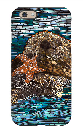 Sea Otter - Paper Mosaic iPhone 6 Case by  Lantern Press
