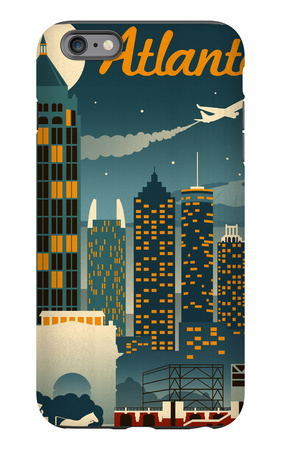 Atlanta, Georgia - Retro Skyline iPhone 6s Plus Case by  Lantern Press