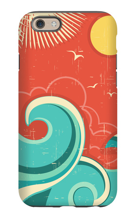 Vintage Tropical Background With Sea Waves And Sun iPhone 6 Case by  GeraKTV