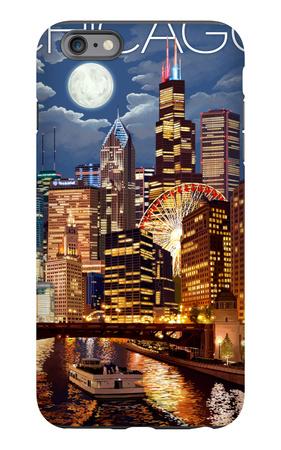Chicago, Illinois - Skyline at Night iPhone 6s Plus Case by  Lantern Press