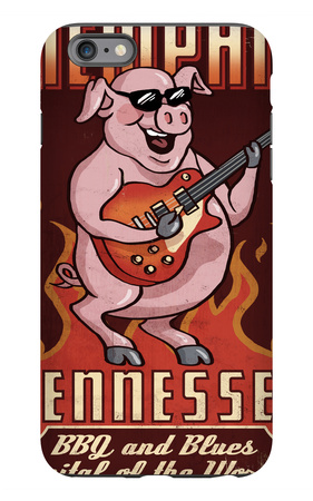 Memphis, Tennessee - Guitar Pig iPhone 6s Plus Case by  Lantern Press