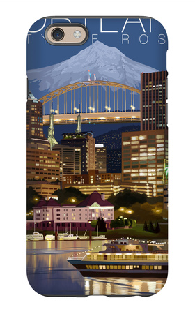 Portland, Oregon - Skyline at Night iPhone 6s Case by  Lantern Press