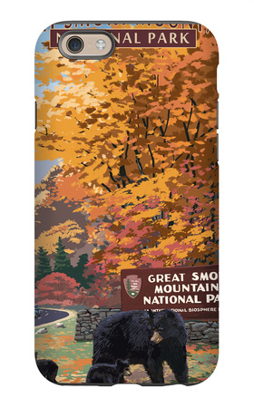 Park Entrance and Bear Family - Great Smoky Mountains National Park, TN iPhone 6s Case by  Lantern Press