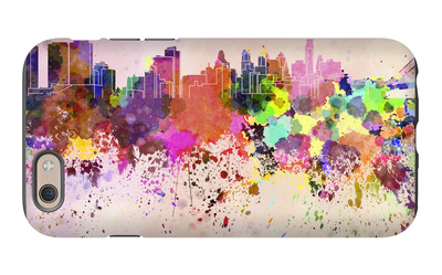 Philadelphia Skyline in Watercolor Background iPhone 6 Case by  paulrommer