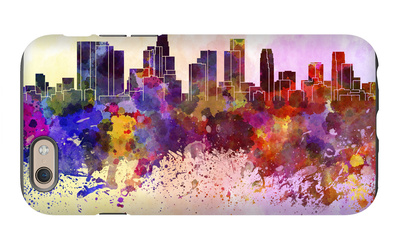 Los Angeles Skyline in Watercolor Background iPhone 6 Case by  paulrommer