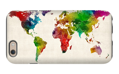 Watercolor Map of the World Map iPhone 6 Case by Michael Tompsett!