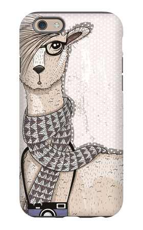 Cute Hipster Lama with Photo Camera, Glasses and Scarf iPhone 6 Case by cherry blossom girl
