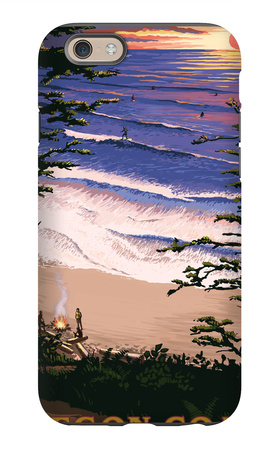 Oregon Coast Sunset Surfers iPhone 6 Case by  Lantern Press