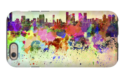 Tel Aviv Skyline in Watercolor Background iPhone 6 Case by  paulrommer