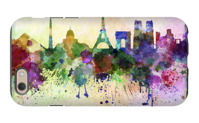 Paris Skyline in Watercolor Background iPhone 6 Case by  paulrommer