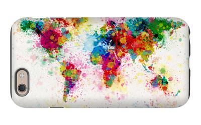 World Map Paint Splashes iPhone 6 Case by Michael Tompsett