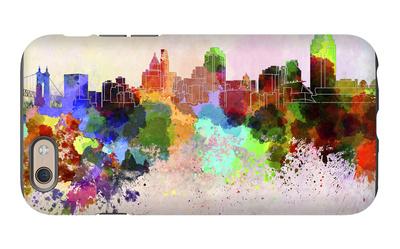 Cincinnati Skyline in Watercolor Background iPhone 6 Case by  paulrommer