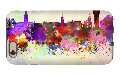 Stockholm Skyline in Watercolor Background iPhone 6 Case by  paulrommer