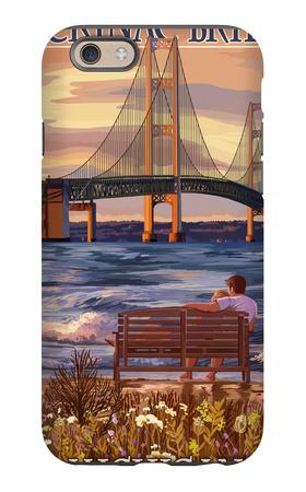 Mackinac Bridge and Sunset, Michigan iPhone 6s Case by  Lantern Press