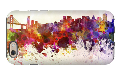 San Francisco Skyline in Watercolor Background iPhone 6 Case by  paulrommer