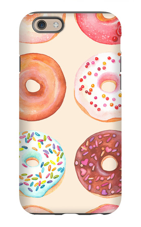 Seamless Background of Watercolor Colorful Donuts Glazed. iPhone 6 Case by  Nikiparonak