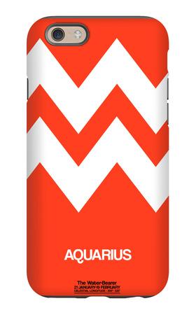 Aquarius Zodiac Sign White on Orange iPhone 6 Case by  NaxArt