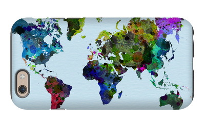 World Watercolor Map 3 iPhone 6 Case by  NaxArt