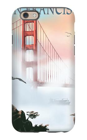 Golden Gate Bridge in Fog - San Francisco, California iPhone 6 Case by  Lantern Press