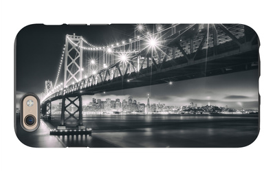San Francisco Cityscape in Black and White, Bay Bridge iPhone 6 Case by Vincent James