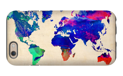 World Watercolor Map 2 iPhone 6 Case by  NaxArt