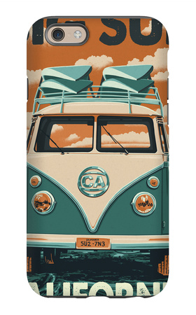 Big Sur, California - VW Van Blockprint iPhone 6s Case by  Lantern Press