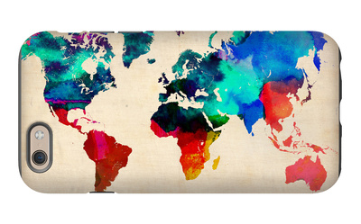 World Watercolor Map 1 iPhone 6 Case by  NaxArt
