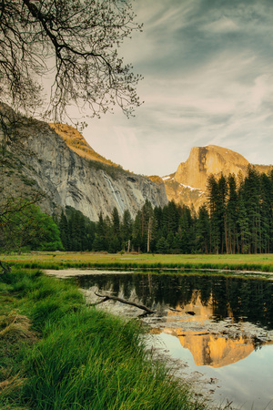 Half Dome Reflection at Cook's Meadow, Yosemite Valley Photographic Print by Vincent James