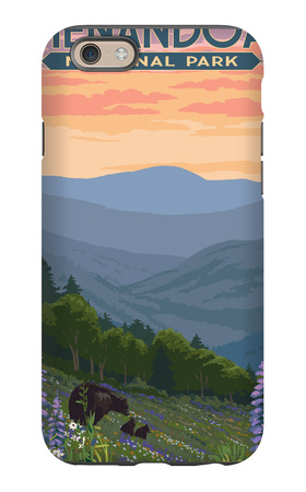 Shenandoah National Park, Virginia - Black Bear and Cubs Spring Flowers iPhone 6s Case by  Lantern Press
