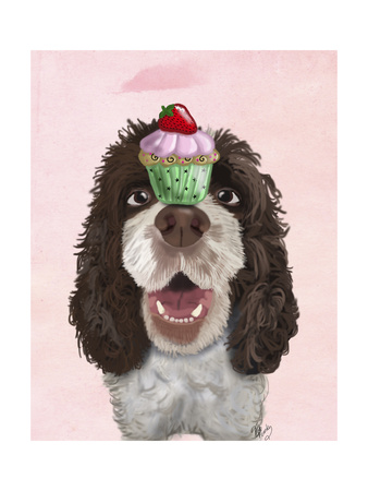 Springer Spaniel with Cupcake Prints by  Fab Funky
