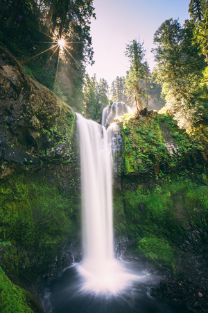 Sun Start at Panther Falls Columbia River Gorge, Washington Photographic Print by Vincent James
