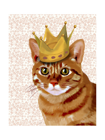 Ginger Cat with Crown Portrait Prints by  Fab Funky