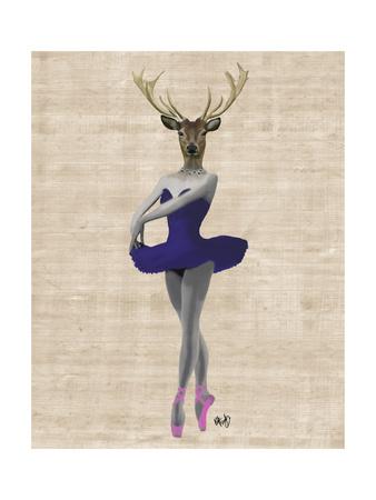 Ballet Deer in Blue Print by  Fab Funky