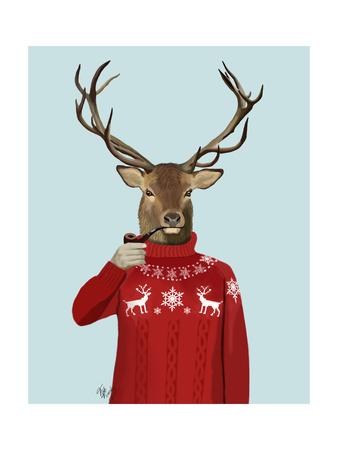 Deer in Ski Sweater Prints by  Fab Funky