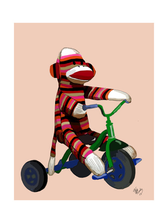 Sock Monkey Tricycle Prints by  Fab Funky