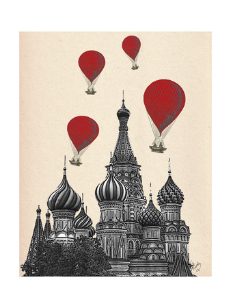 St Basil's Cathedral and Red Hot Air Balloons Posters by  Fab Funky