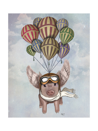 Pig and Balloons Prints by  Fab Funky