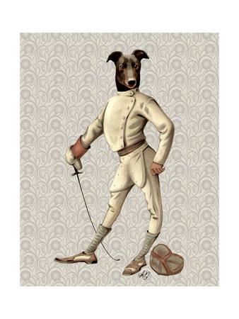 Greyhound Fencer in Cream Full Art by  Fab Funky