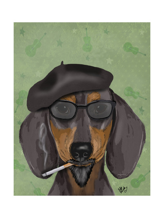 Hipster Dachshund Print by  Fab Funky