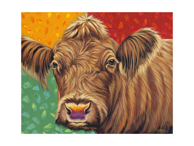 Colorful Country Cows II Prints by Carolee Vitaletti