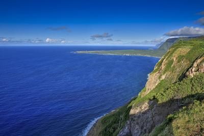 View Looking Back at Kalaupapa and Makanalua Peninsula from Naiwa Pasture, Molokai, Hawaii Photographic Print by Richard Cooke III