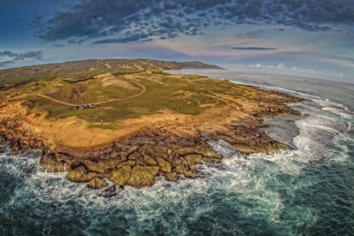 Aerial of Kaehu Point of Nature Conservancy, in the Mo'Omomi Preserve, North Shore, Molokai, Hawaii Photographic Print by Richard Cooke III
