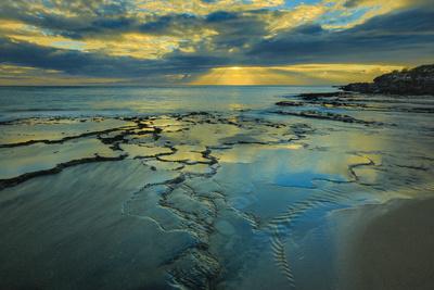 Tide Pools at Sunset, at Kawakiu Nui Beach, West End, Molokai, Hawaii Photographic Print by Richard Cooke III